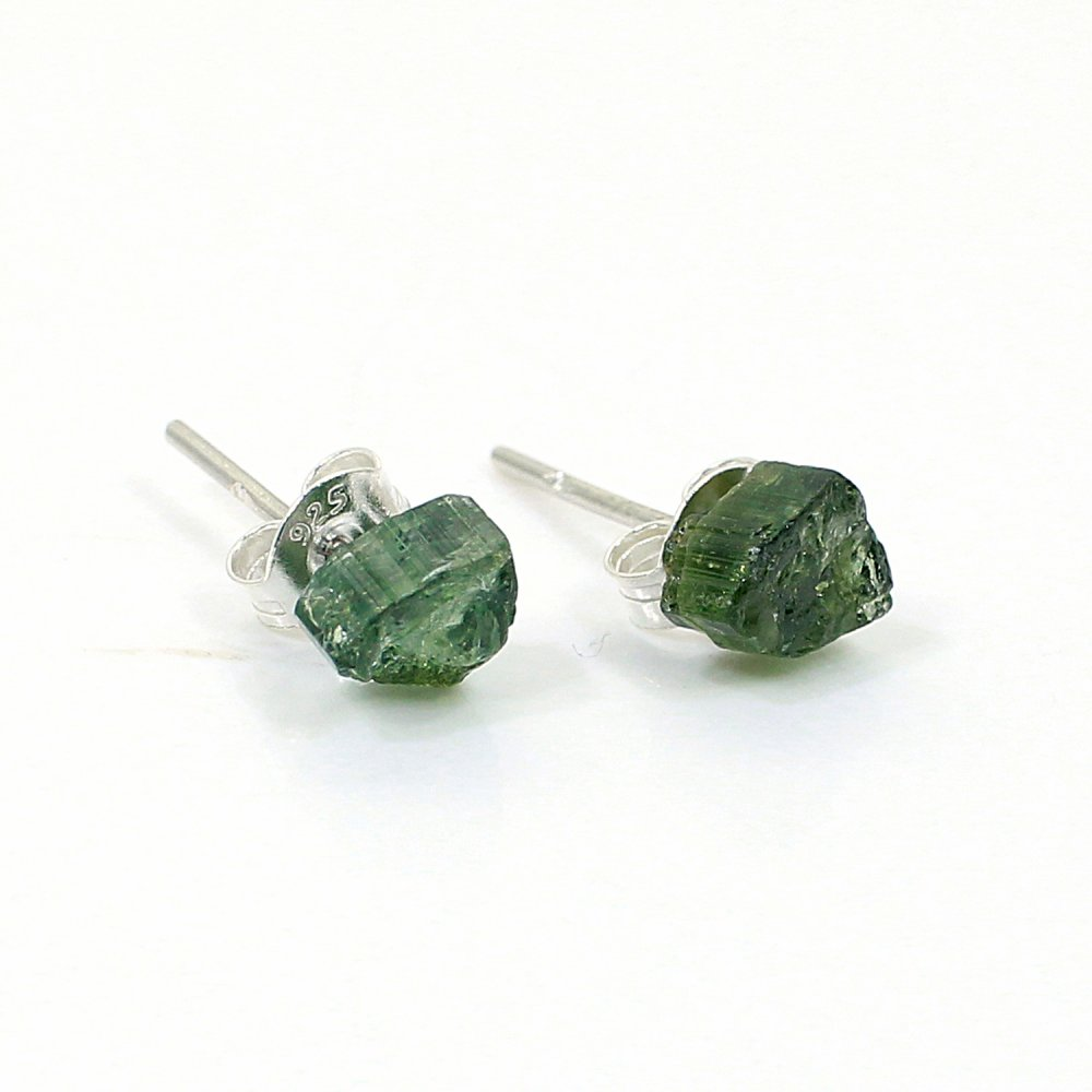 Natural Green Tourmaline Rough 925 Sterling Silver Stud Earring