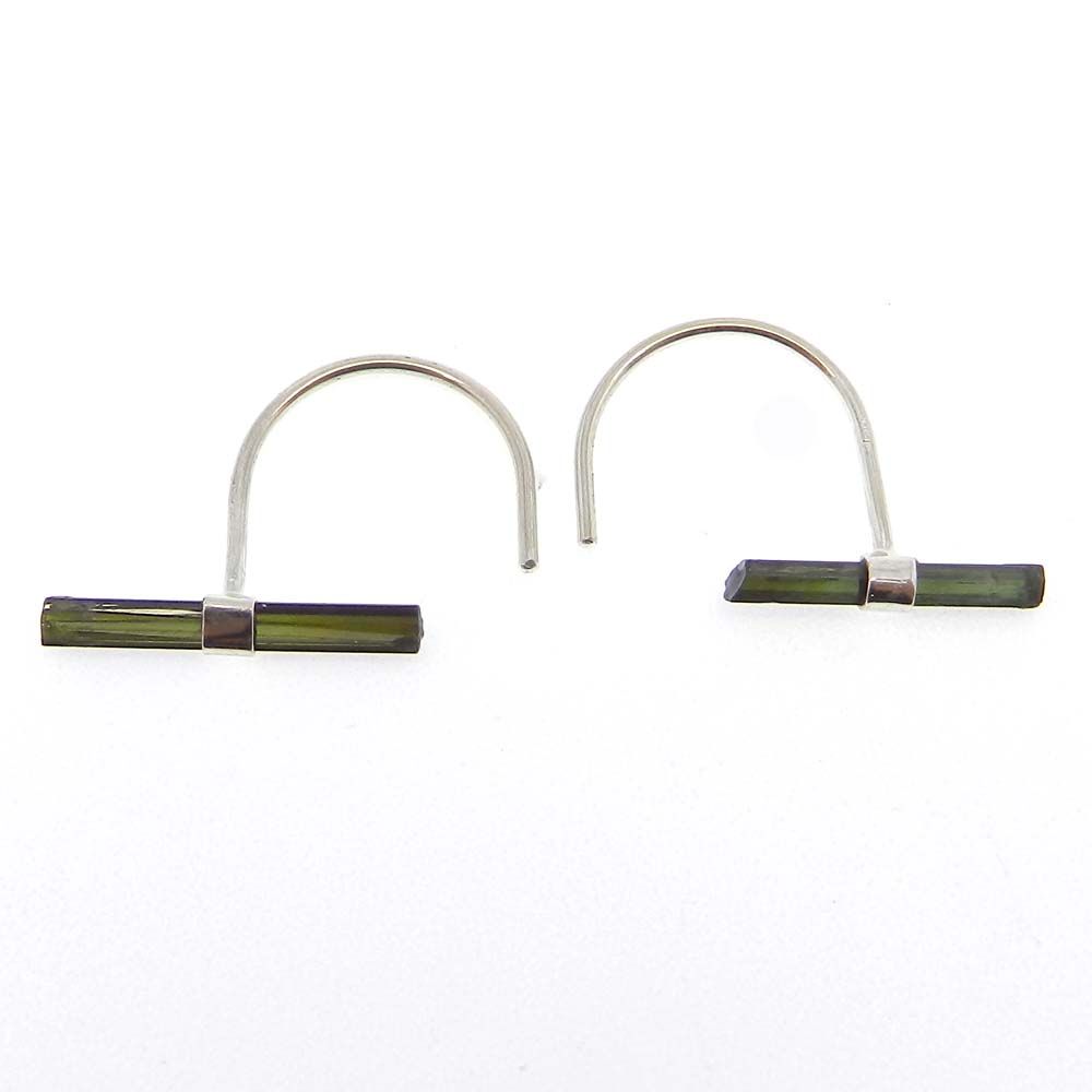 Natural Green Tourmaline Rough Silver Wire Earring