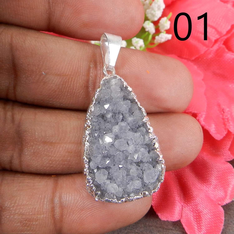 Natural Grey Druzy Silver Electroplated Designer Pendant