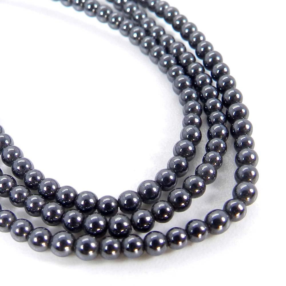 Natural Hematite 2mm Round Smooth Gemstone Strand Beads