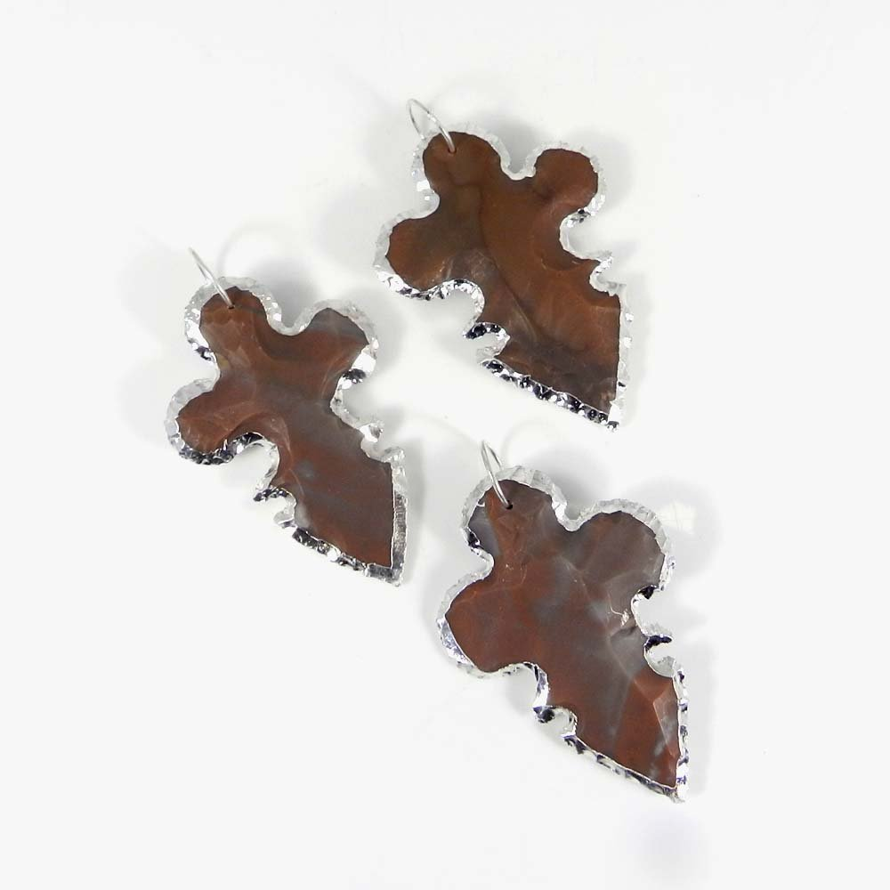 Natural Indian Agate Cross Arrowhead Silver Electroplated Pendant