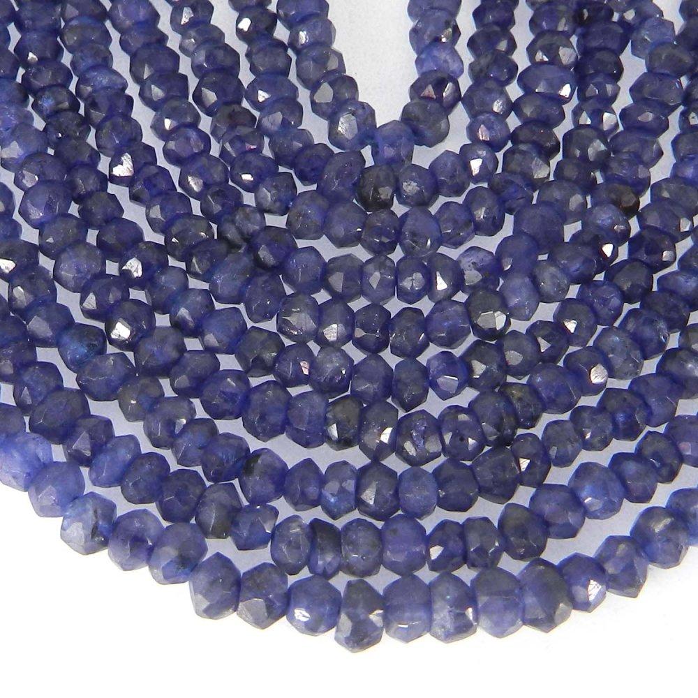 Natural Iolite 3mm Roundel Facet Gemstone Strand Beads