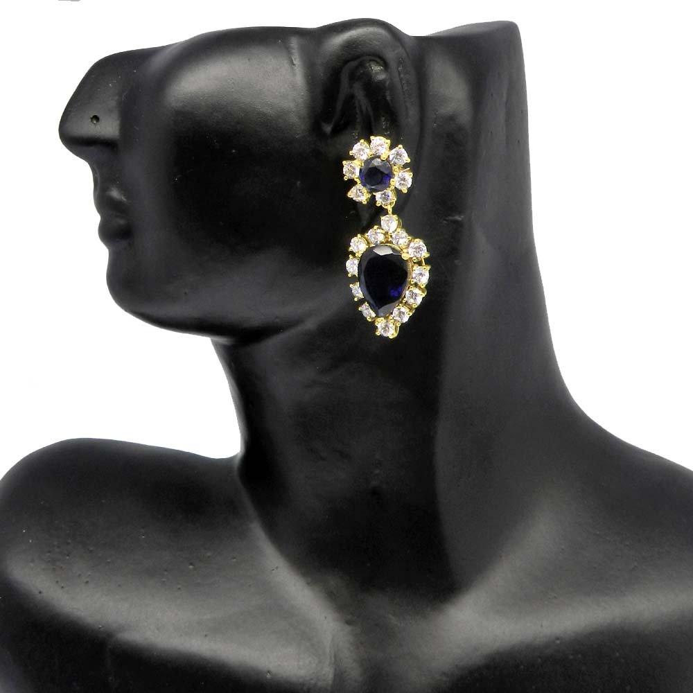 Natural Iolite & CZ Gold Plated Prong Set Designer Stud Earring