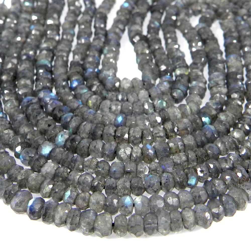 Natural Labradorite 3.5mm Roundel Facet Gemstone Strand Beads