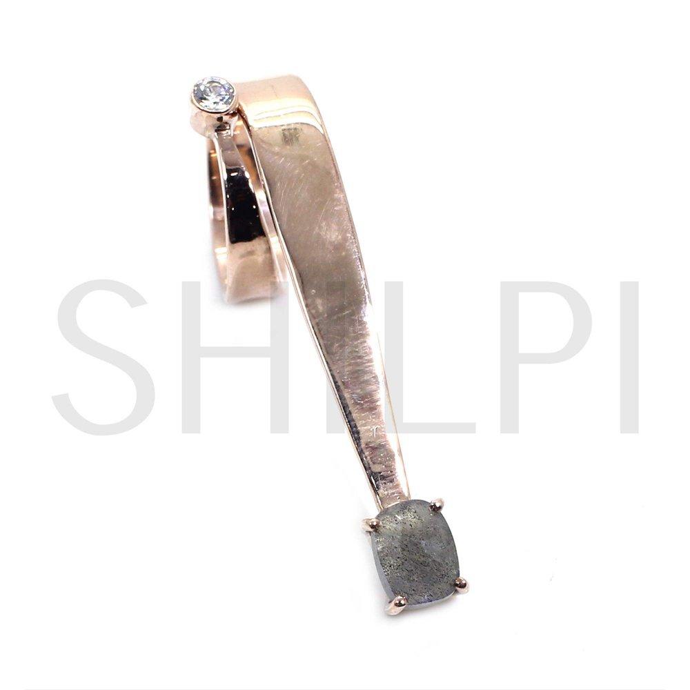 Natural Labradorite & CZ Rose Gold Plated Designer Ring