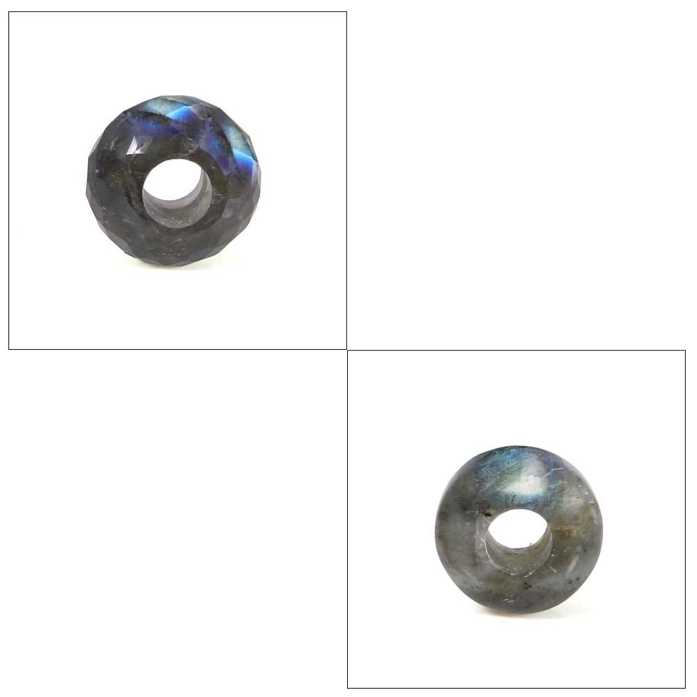 Natural Labradorite big hole gemstone beads for bracelet making