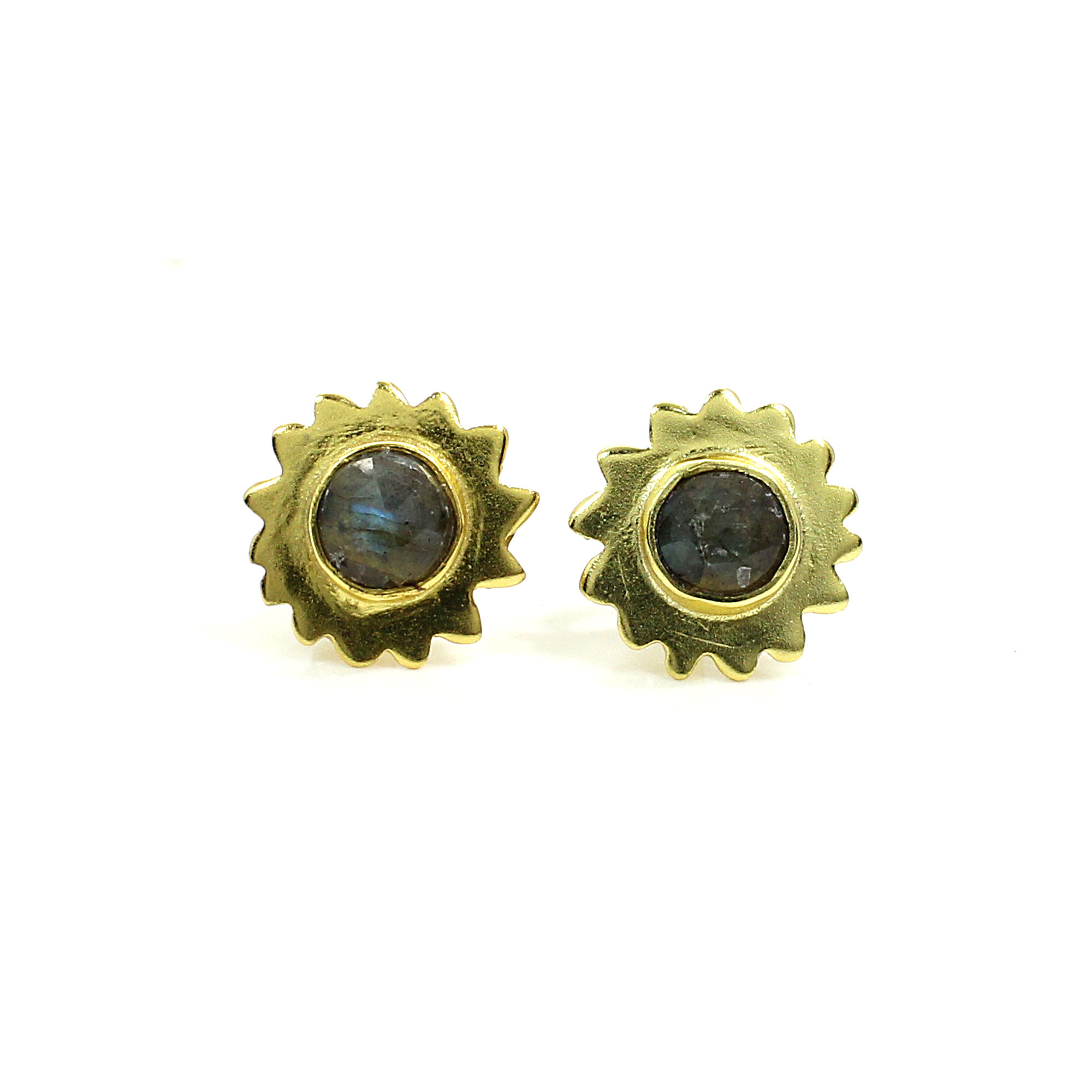 Natural Labradorite Sterling Silver Gold Plated Stud Earrings