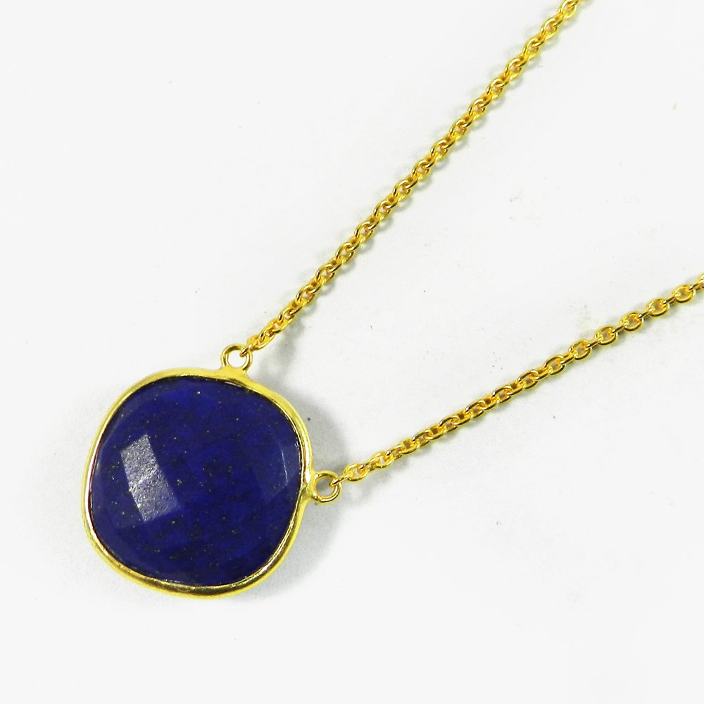 Natural Lapis Lazuli 18x18mm Silver Gold Plated Long Chain Necklace