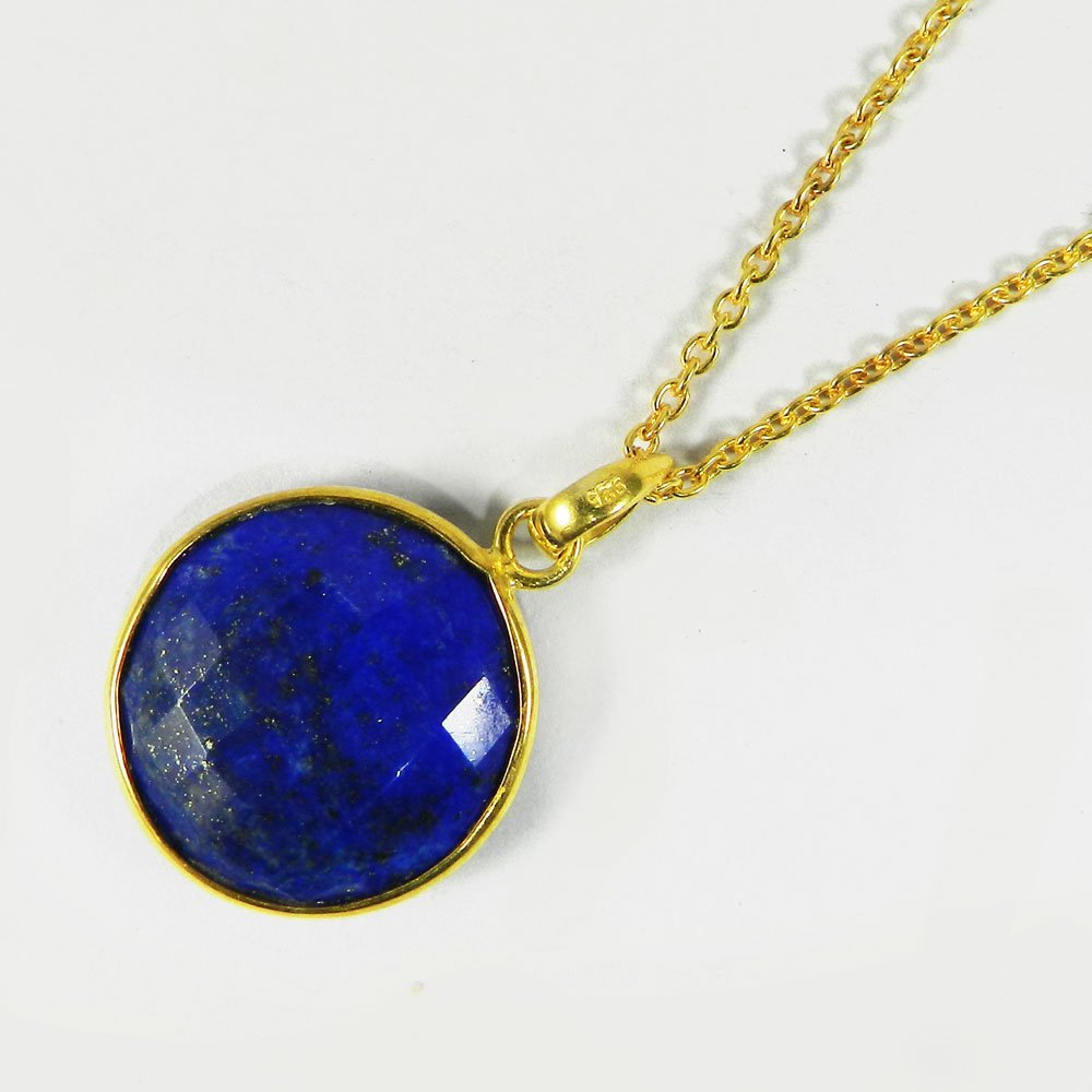 Natural Lapis Lazuli 19mm Silver Gold Plated Long Chain Necklace