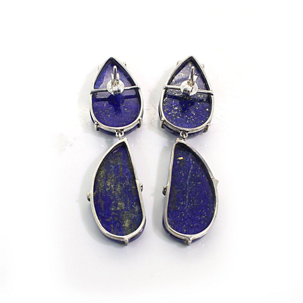 Natural Lapis Lazuli 925 Silver Prong Set Stud Earrings