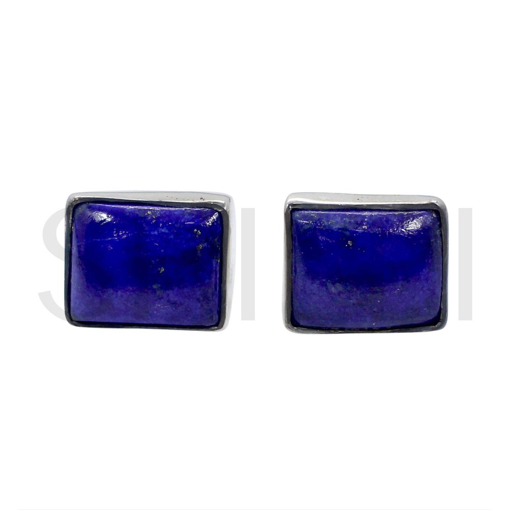 Natural Lapis Lazuli 925 Sterling Silver Handmade Stud Earrings