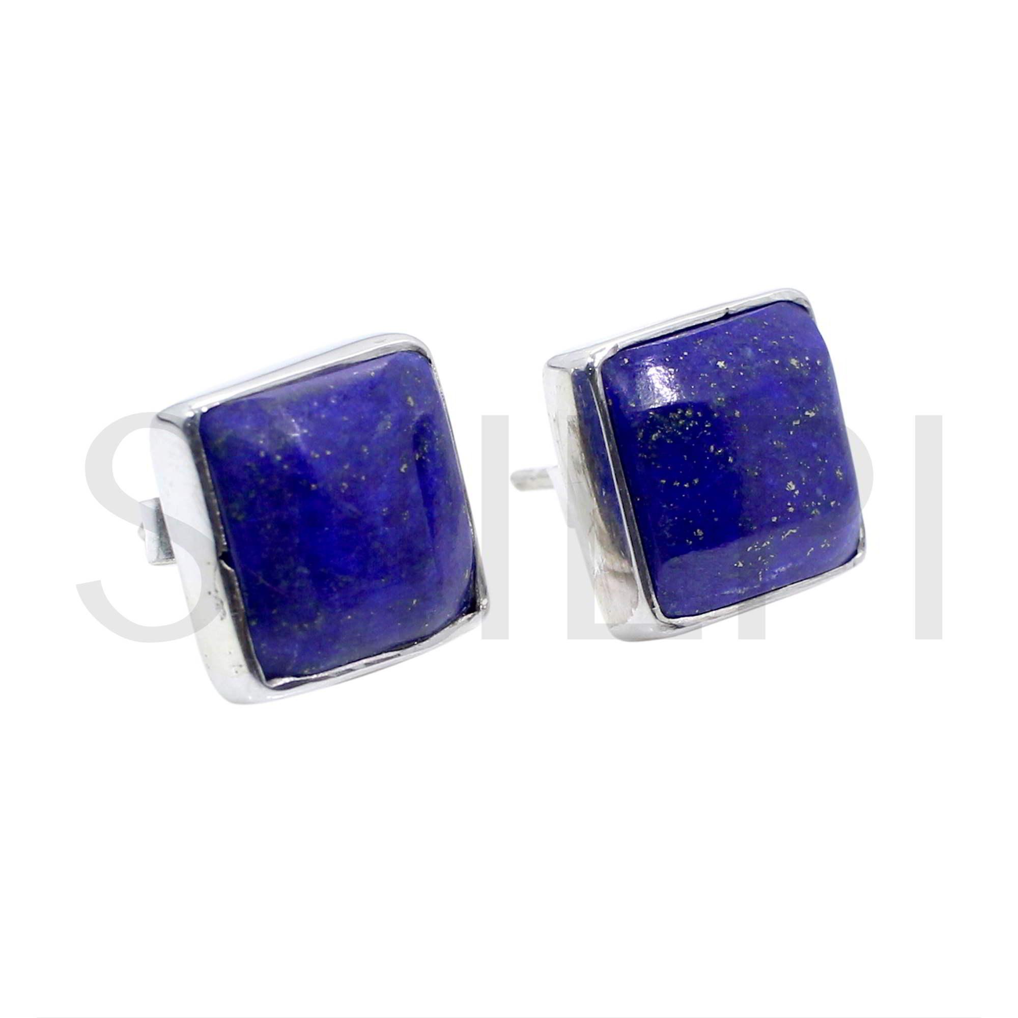 Natural Lapis Lazuli 925 Sterling Silver Stud Earrings