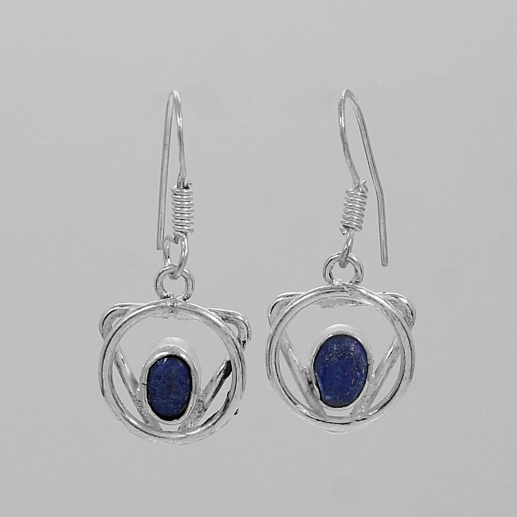 Natural Lapis Lazuli Designer Silver Dangle Earrings