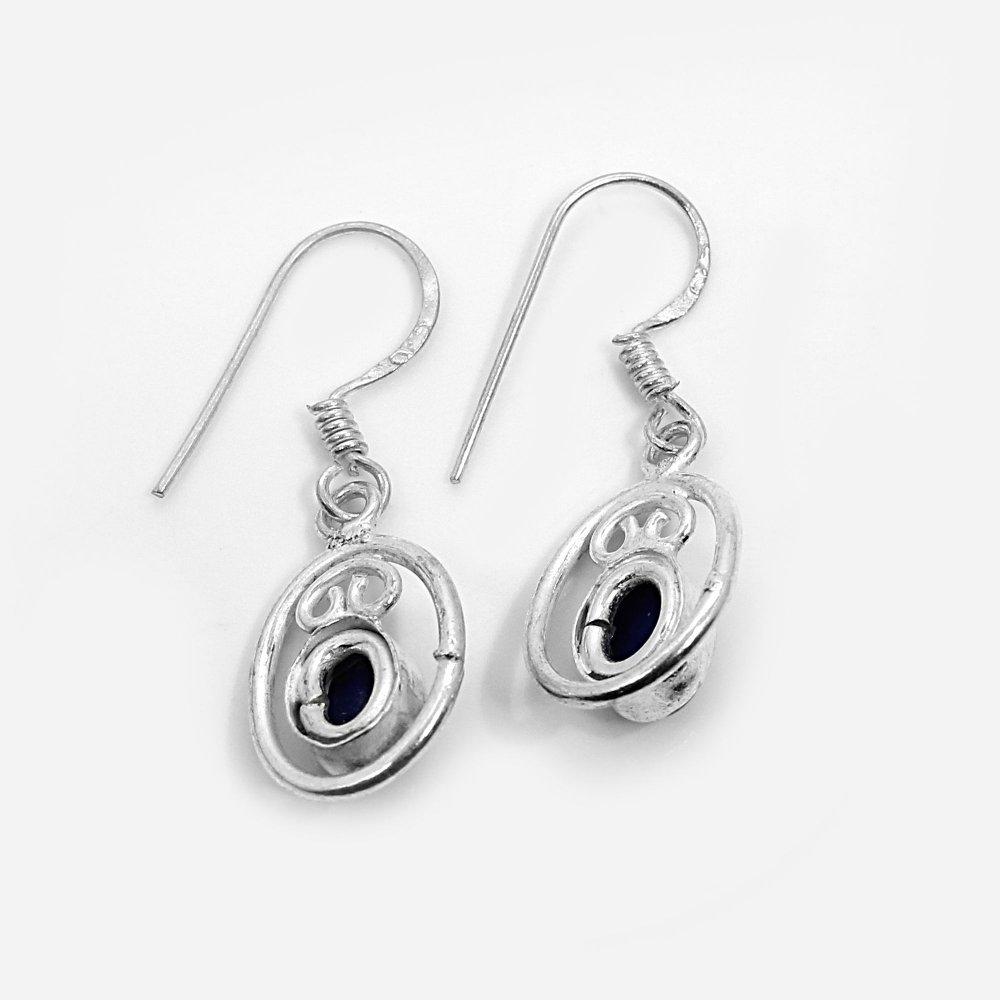 Natural Lapis Lazuli Silver Dangle Earrings