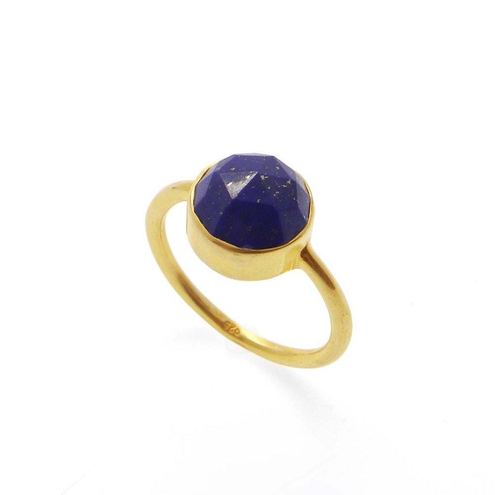 Natural Lapis Lazuli Silver Gold Plated Bezel Ring
