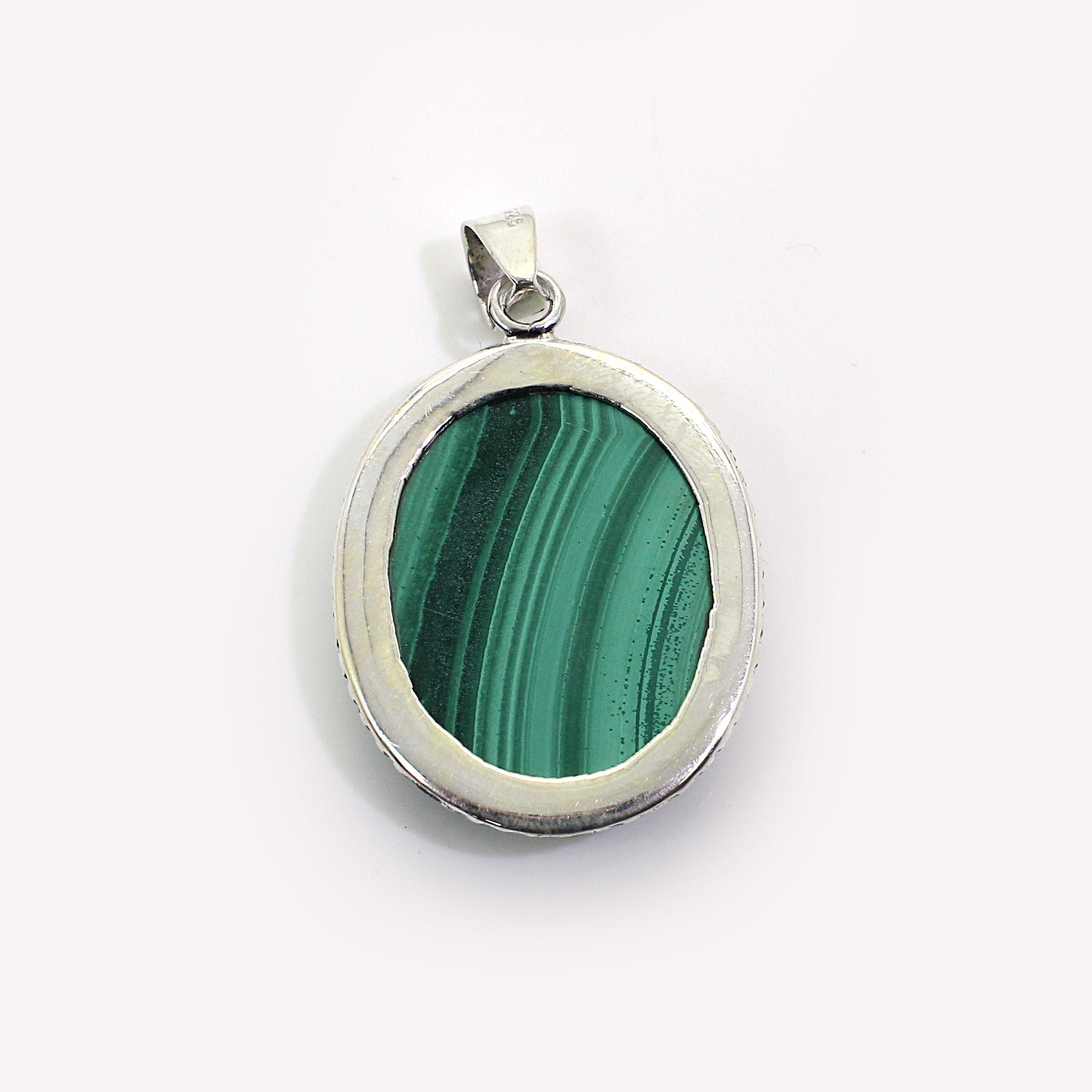 Natural Malachite Sterling Silver Designer Pendant