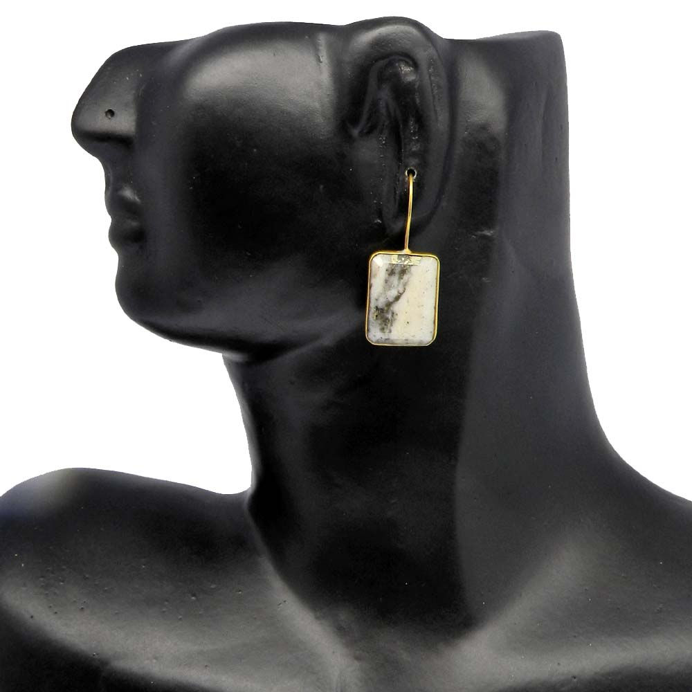 Natural Marcasite Pyrite Gold Plated Dangle Earring