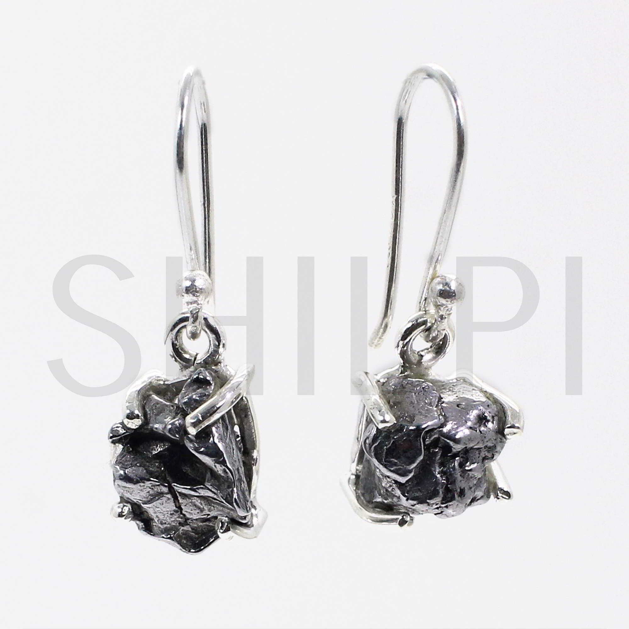 Natural Meteorite 925 Sterling Silver Prong Set Dangle Earrings