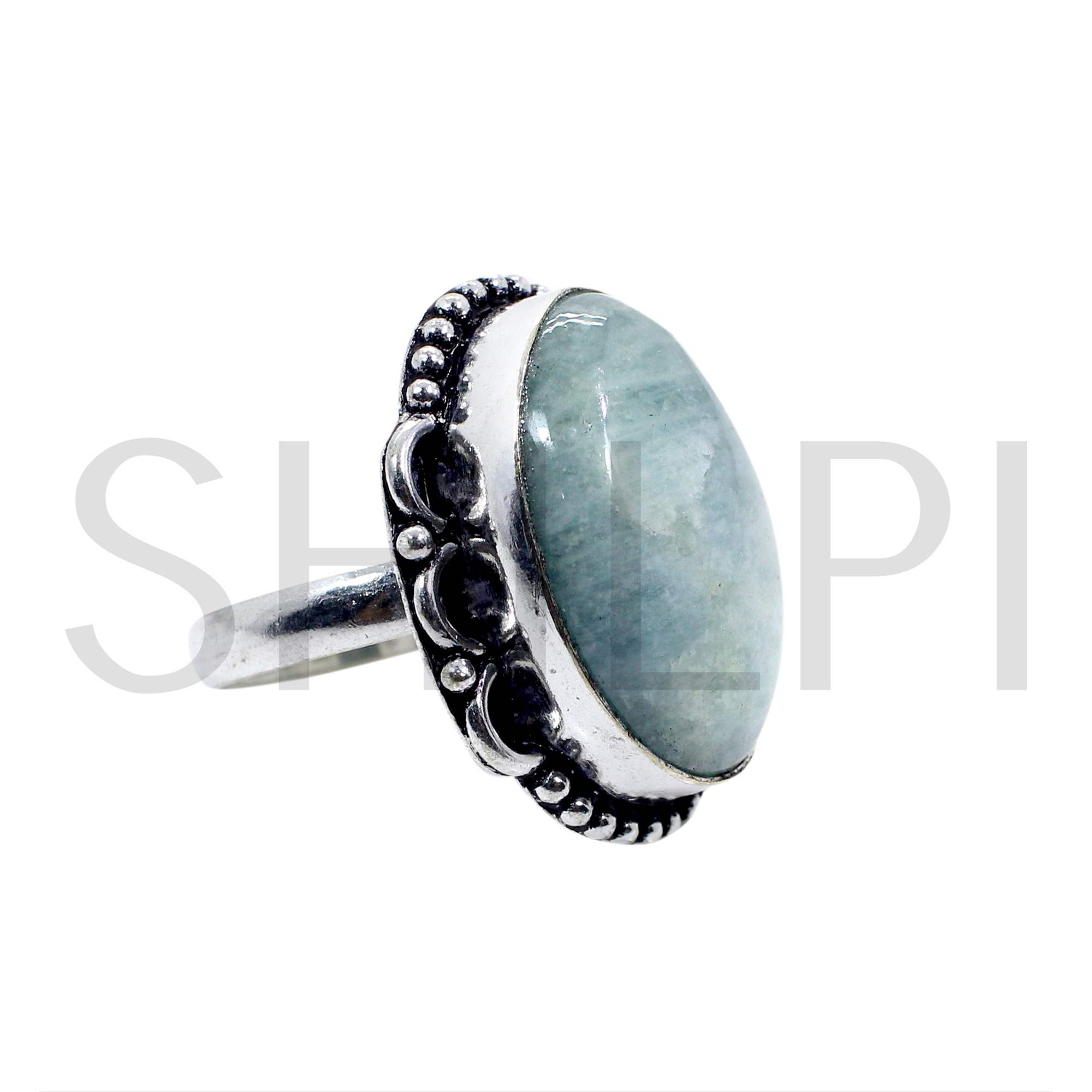Natural Milky Aquamarine Oxidized 925 Sterling Silver Designer Classic Ring