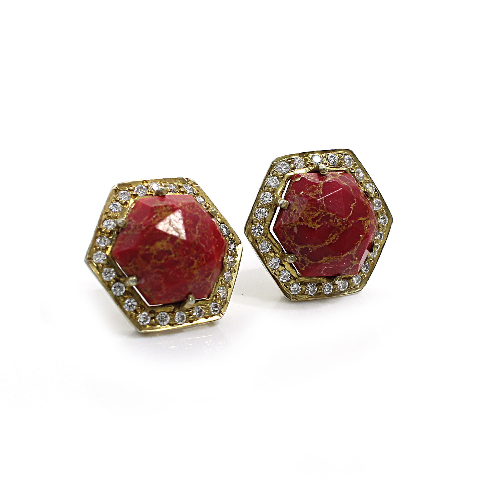 Natural Mohave Red Turquoise with CZ Silver Stud Earrings
