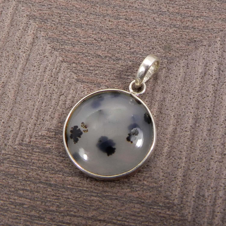 Natural Montana Agate 925 Sterling Silver Bezel Set Pendant