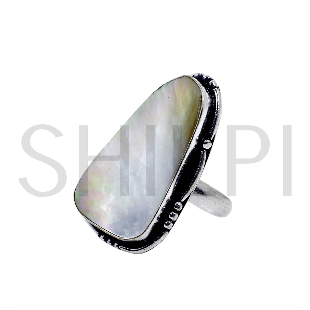 Natural Mother Of Pearl Handmade 925 Sterling Silver Ring
