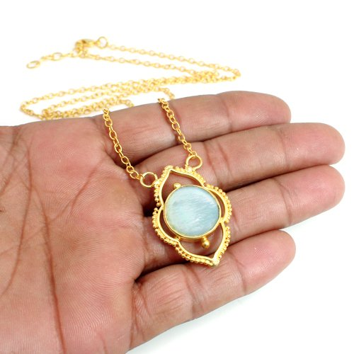 Natural Mother Of Pearl Necklace Gold Plated Necklace Designer Solitaire Women Necklace