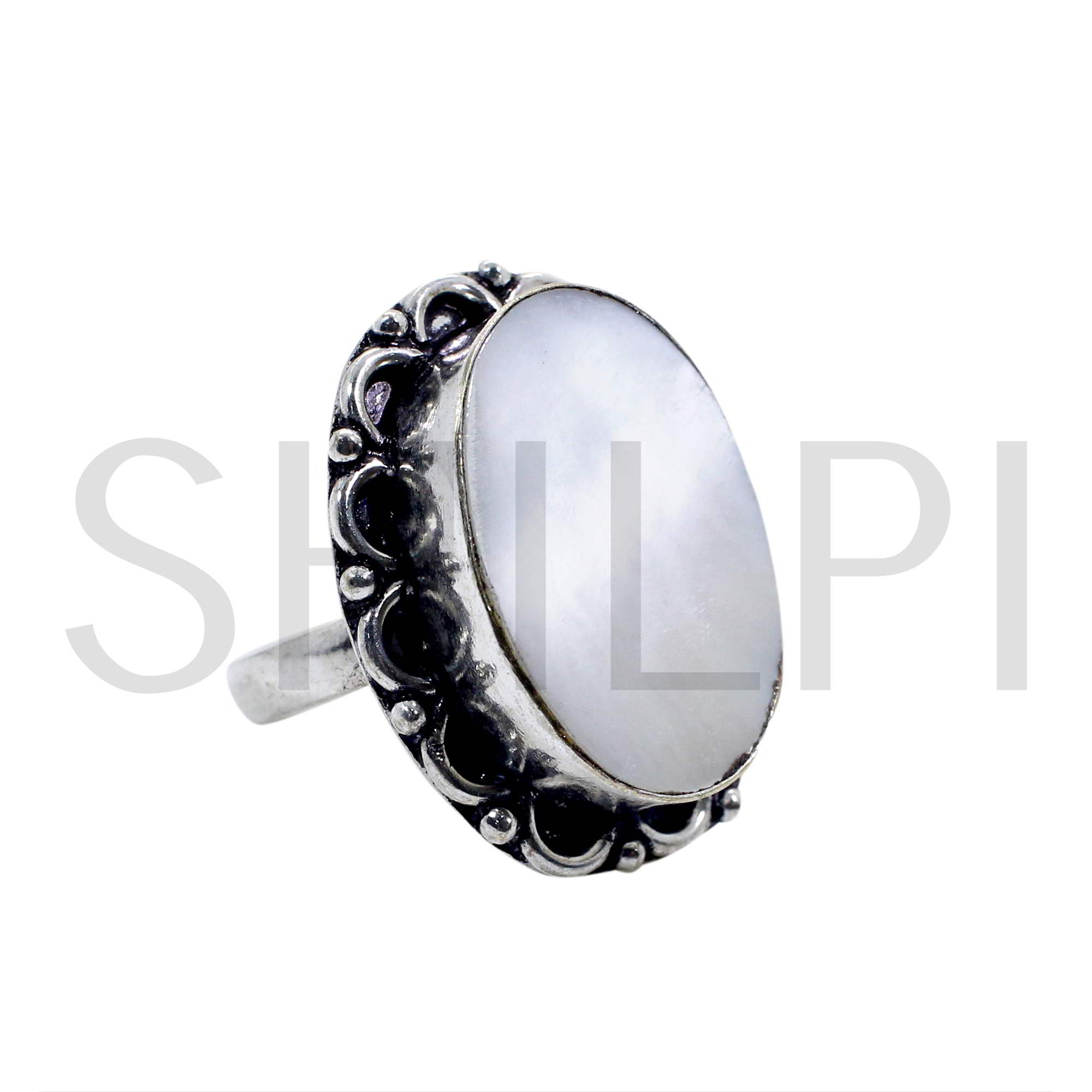 Natural Mother Of Pearl Oxidized 925 Sterling Silver Ring