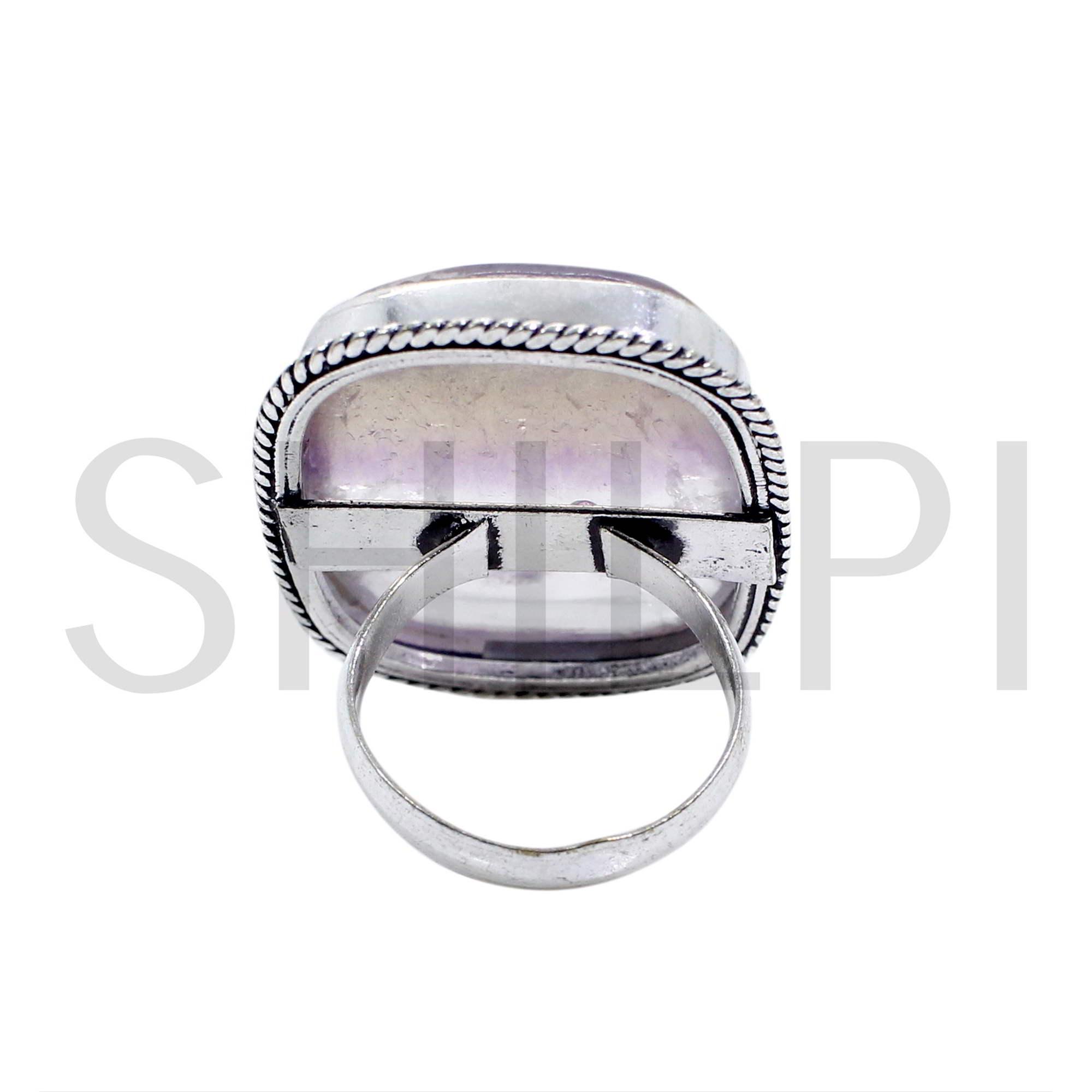 Natural Multi Fluorite Oxidized 925 Sterling Silver Bezel Set Ring
