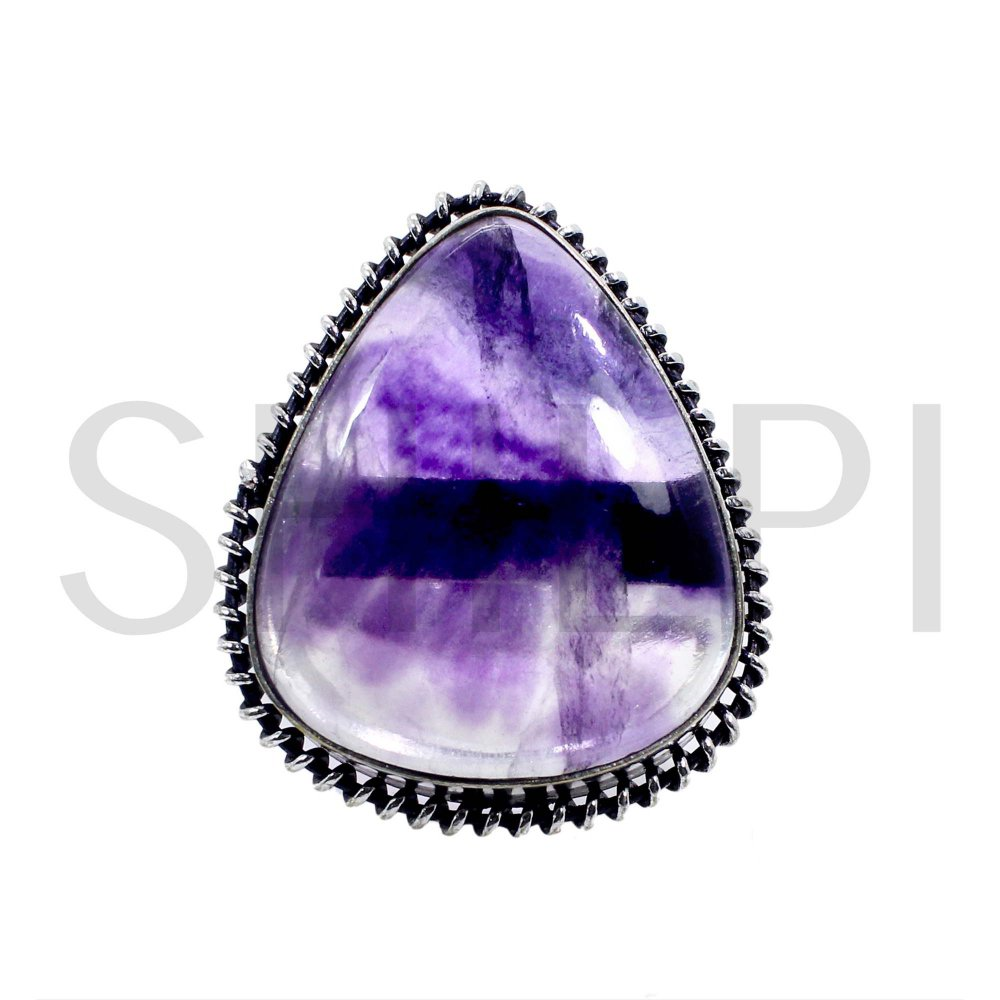 Natural Multi Fluorite Oxidized 925 Sterling Silver Handcrafted Classic Bezel Set Ring