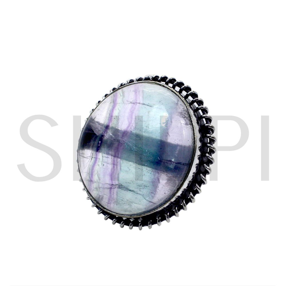 Natural Multi Fluorite Oxidized 925 Sterling Silver Handcrafted Classic Round Bezel Set Ring
