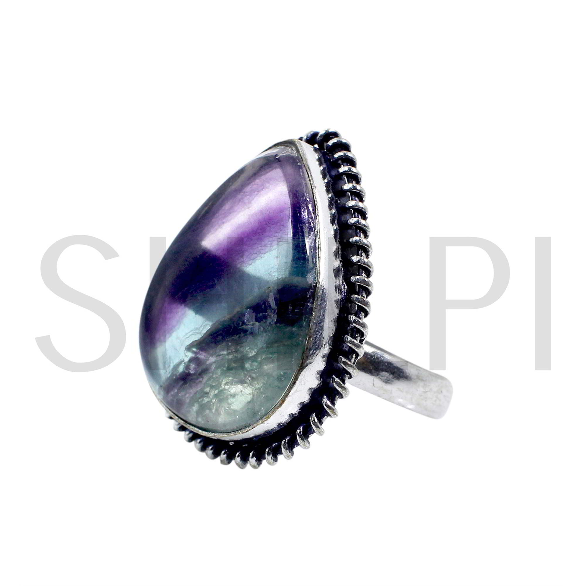 Natural Multi Fluorite Oxidized 925 Sterling Silver Handmade Ring