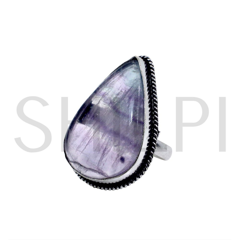 Natural Multi Fluorite Oxidized 925 Sterling Silver Ring