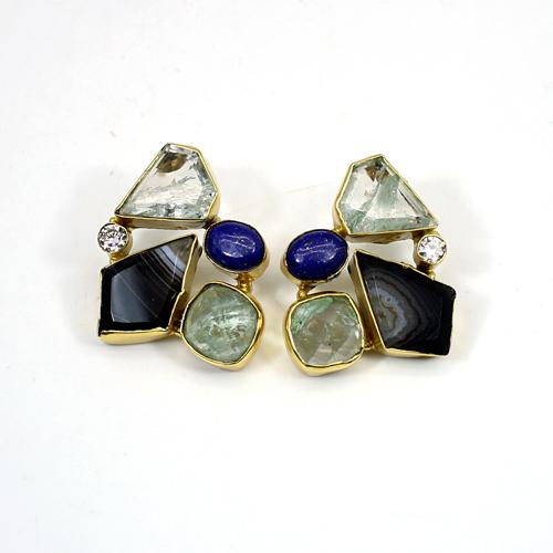 Natural Multi Gemstone Brass Vermeil Women Earring