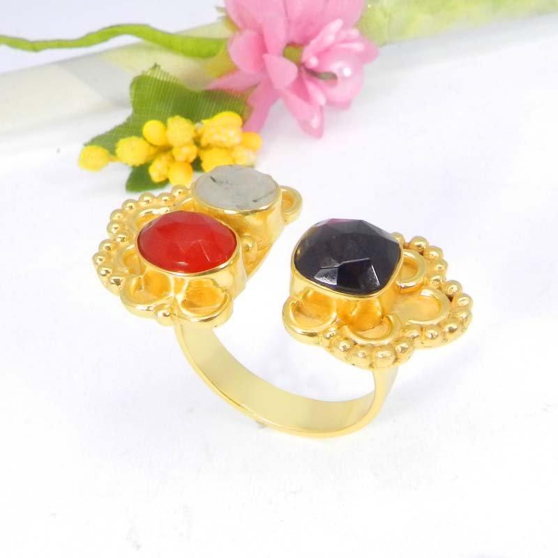 Natural Multi Gemstones Gold Plated Designer Adjustable Ring