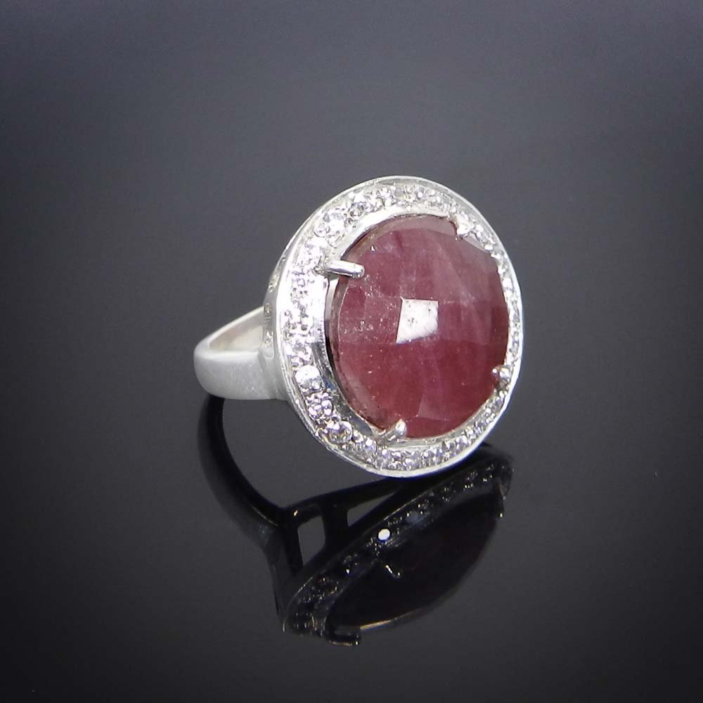 Natural Multi Sapphire,CZ 925 Sterling Silver Prong Set Ring