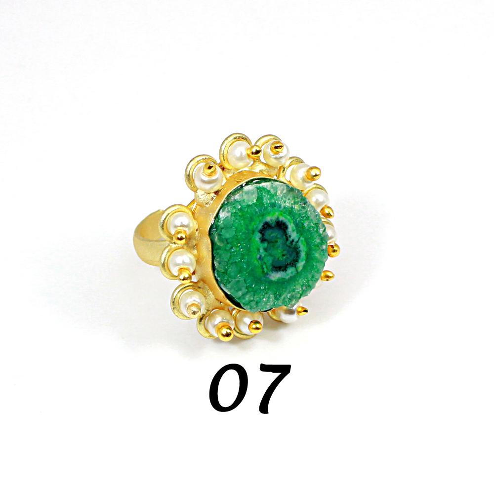 Natural Multi Solar Quartz Druzy & Pearl Brass Vermeil Adjustable Ring