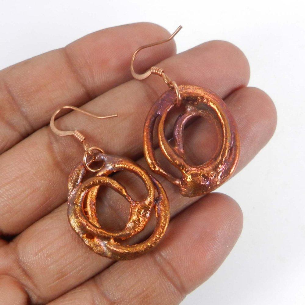 Natural Native Copper Fancy Jewelry Dangle Earring
