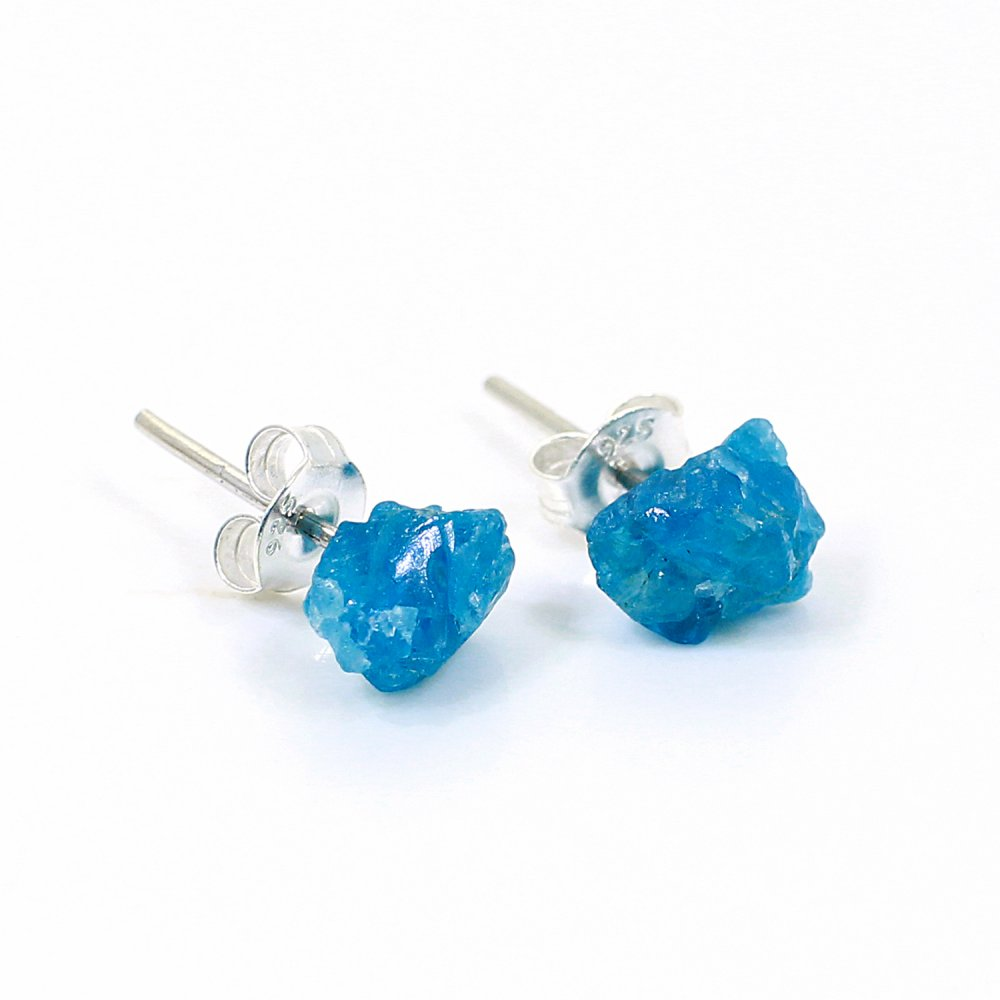 Natural Neon Apatite Rough 925 Sterling Silver Stud Earring