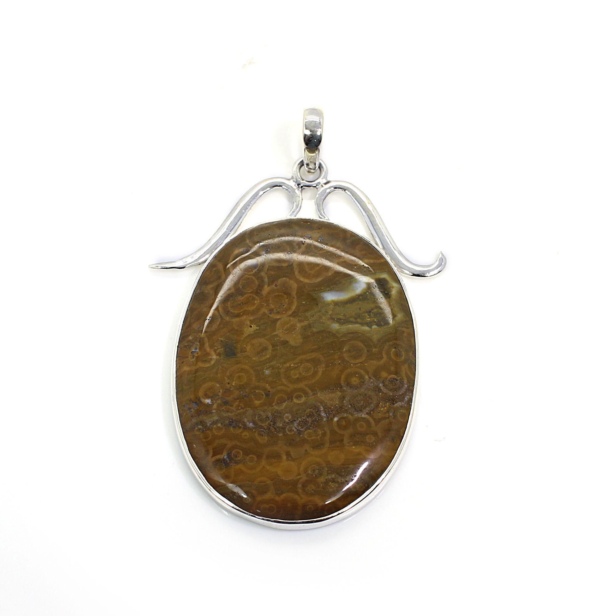 Natural Ocean Jasper Sterling Silver Filigree Design Pendant