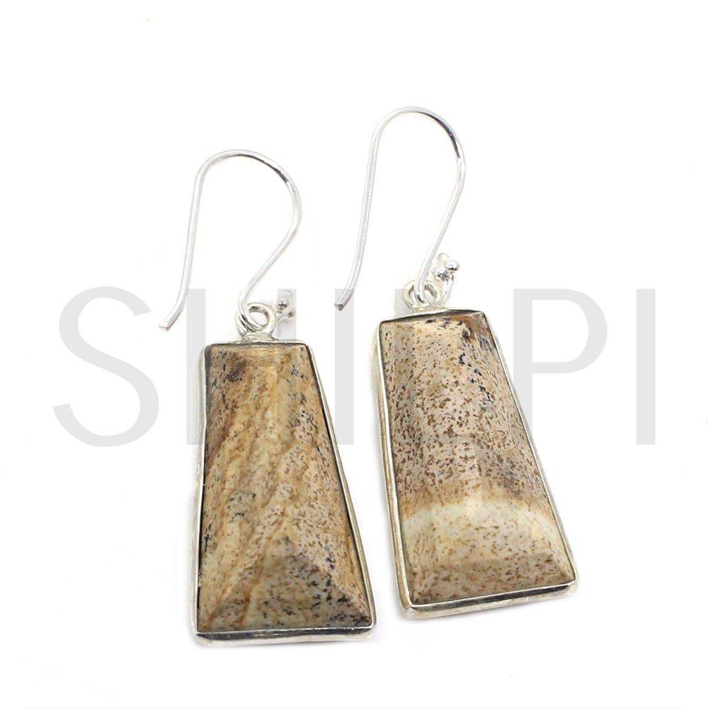 Natural Picture Jasper 925 Sterling Silver Dangle Earrings