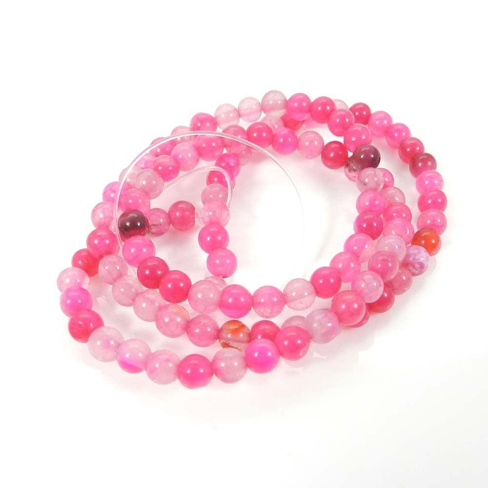 Natural Pink Agate 4mm Round Smooth Gemstone Strand Beads