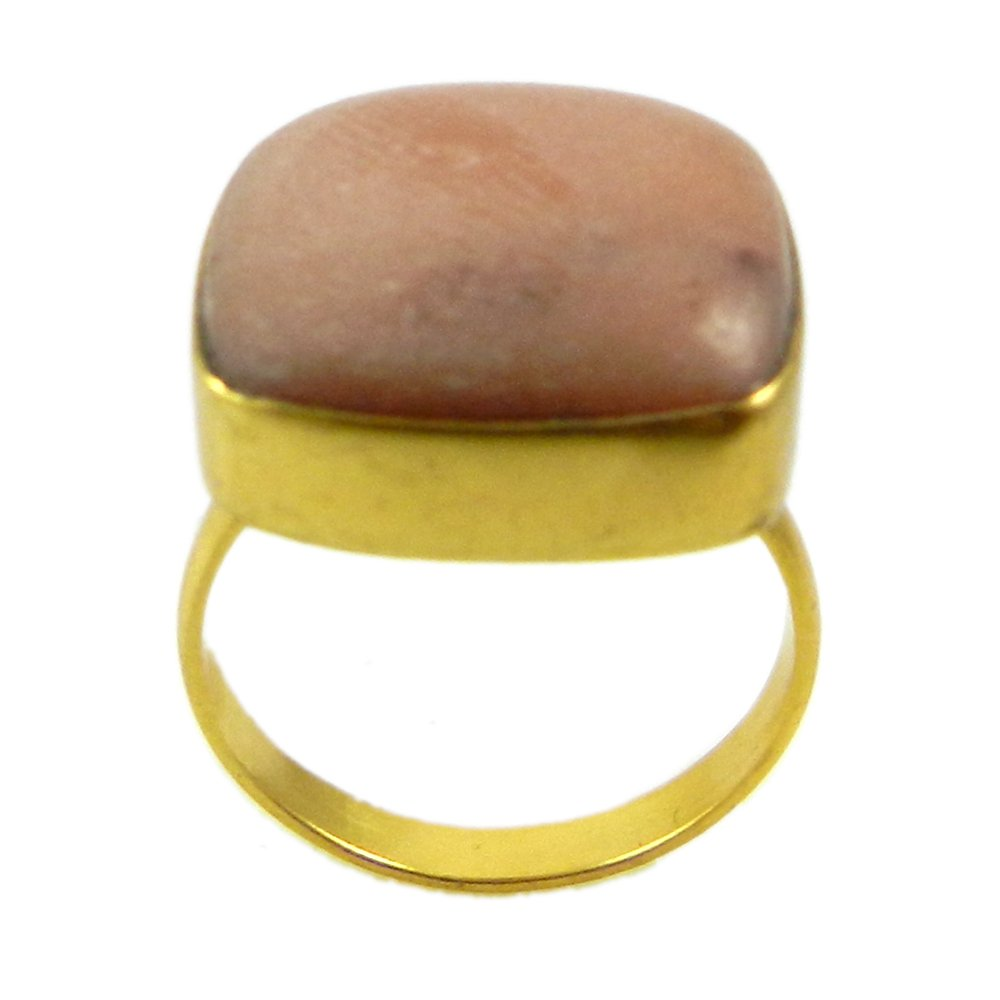 Natural Pink Opal Gemstone Ring Gold Plated Dainty Ring Stylish Women Prominent Ring Christmas Gift Ring Gift For Her