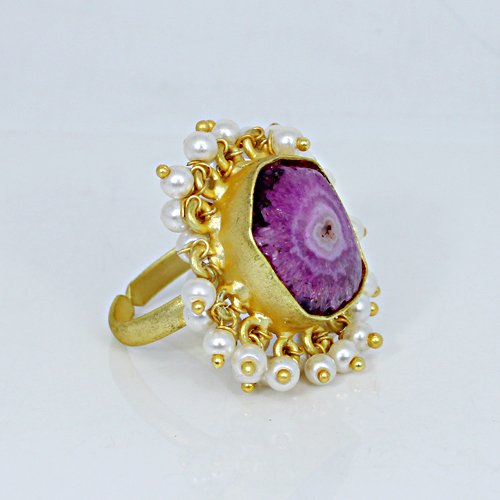 Natural Pink Solar Quartz Druzy Ring Tiny Pearl Ring Brass Gold Plated Adjustable Rings Womens Bohemian Adjustable Ring