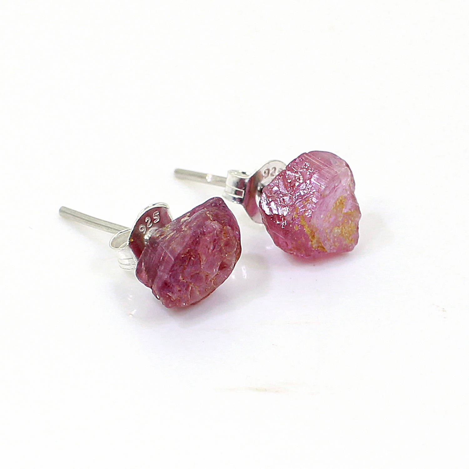 Natural Pink Tourmaline Rough 925 Sterling Silver Stud Earring