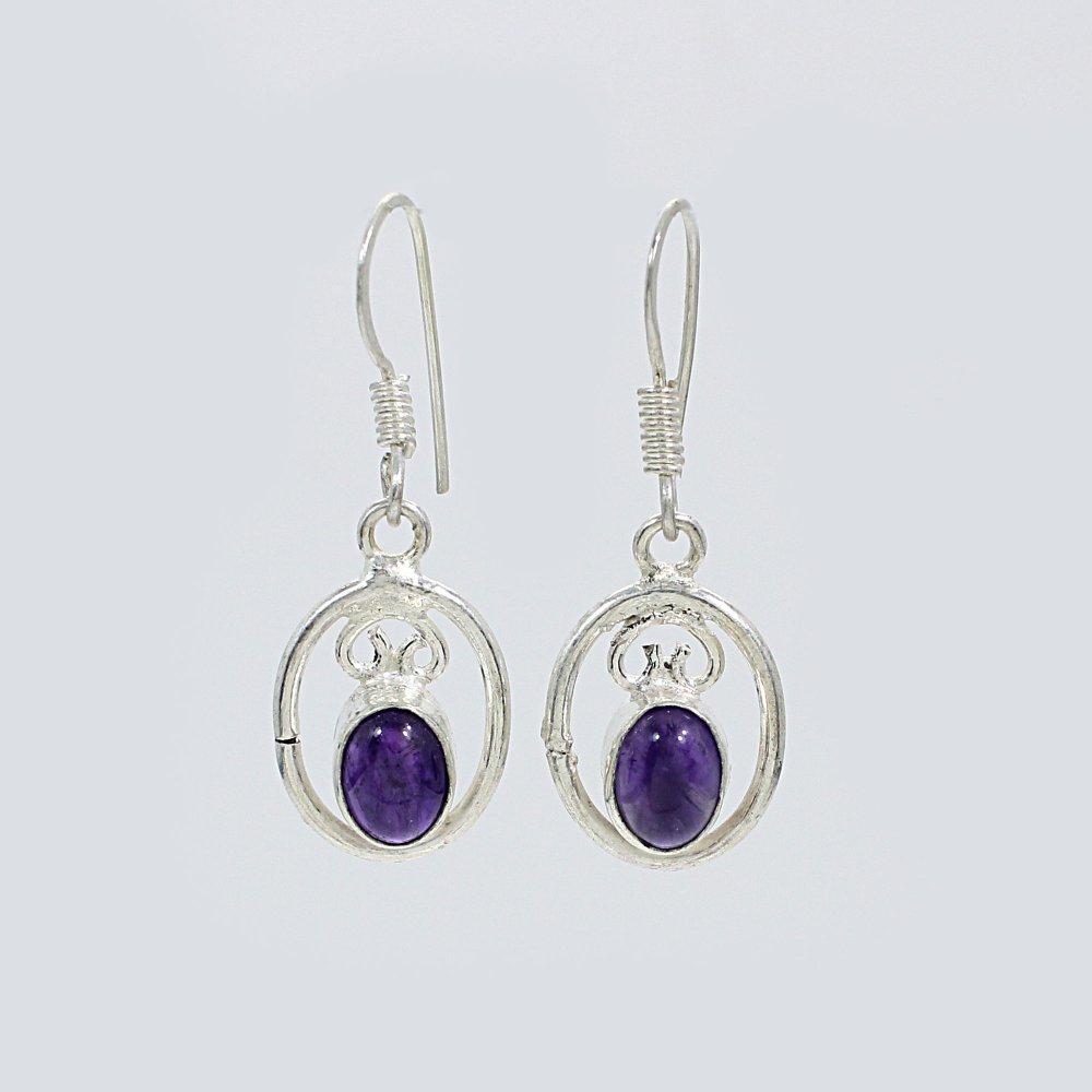 Natural Purple Amethyst Silver Dangle Earrings