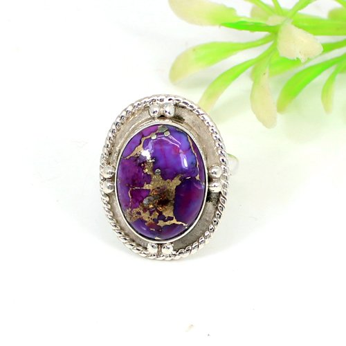 Natural Purple Copper Turquoise Gemstone Ring Solid 925 Sterling Silver Rings Oval Cabochon Signature Rings Mens Prominent Ring