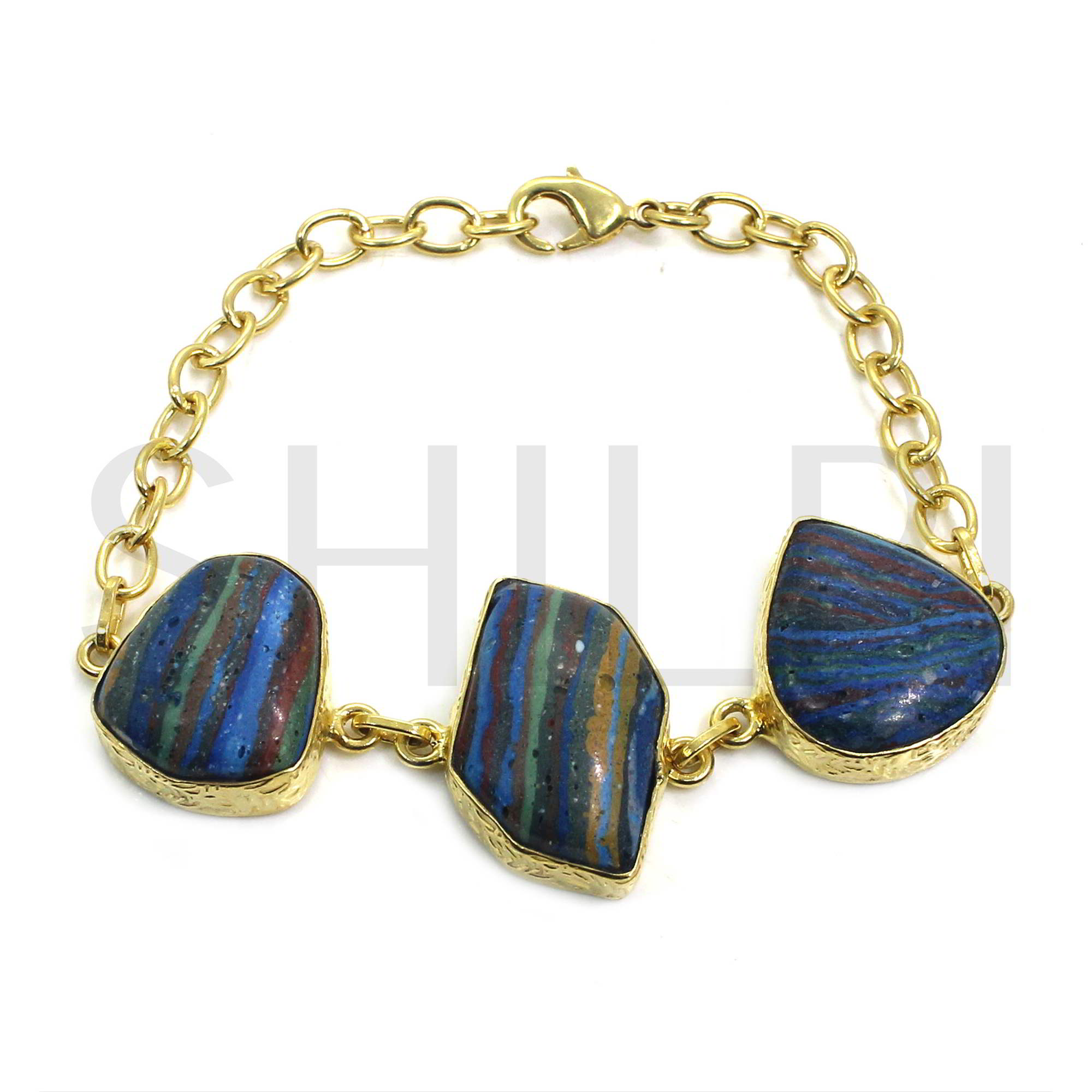 Natural Rainbow Calsilica Gold Plated Link Chain Bracelet