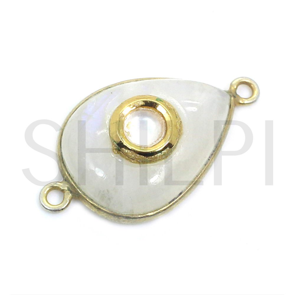 Natural Rainbow Moonstone Gold Plated Double Loop Connector