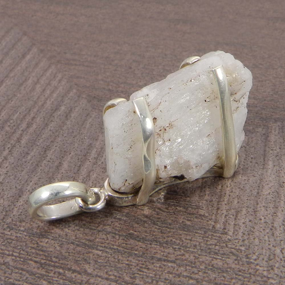 Natural Rainbow Moonstone Rough 925 Sterling Silver Prong Set Pendant